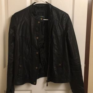 Women's black leather jacket by Bernardo